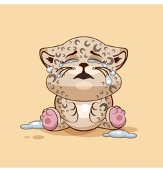 Leopard cub is crying vector