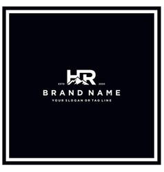 Letter hr mountain logo design vector