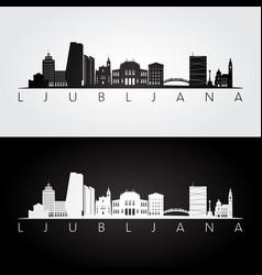 ljubljana skyline and landmarks silhouette vector image