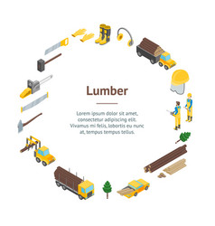 lumberman woodcutter signs 3d banner card circle vector image