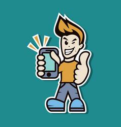 Man phone vector