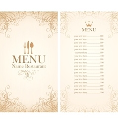 menu with cutlery vector image vector image