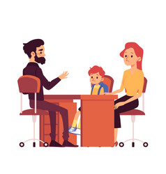 Mom with daughter on consultation in school vector