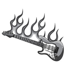monochromatic electric guitar flat vector image