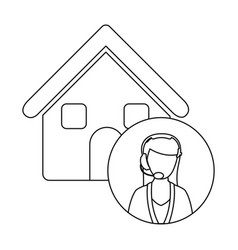 Monochrome contour house with female customer vector