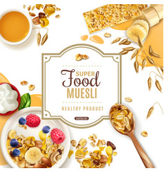 Muesli food frame composition vector