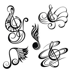 music notes design elements set vector image vector image