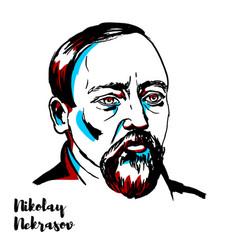 Nikolay nekrasov portrait vector