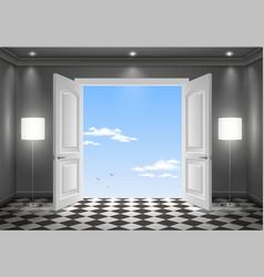 Open door in the sky vector