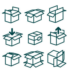 Packing and boxes in various types vector