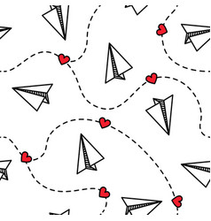 paper planes seamless pattern with hearts love vector image