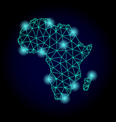 Polygonal wire frame mesh map of africa with light vector