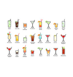 Popular alcoholic cocktails with titles icons set vector