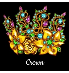 Precious crown with jewels and floral ornament vector
