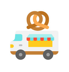 pretzel truck food truck flat style icon vector image