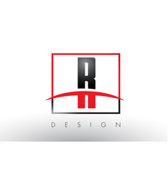 r logo letters with red and black colors and vector image