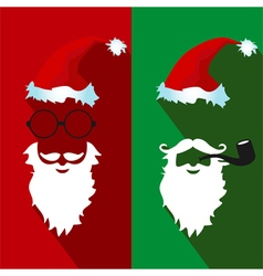 Santa claus face flat icons with long shadow vector