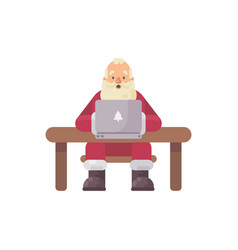 santa claus sitting at his desk reading mail on a vector image