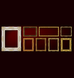 set golden royal frame on black vector image