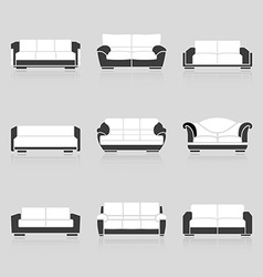 Set of black and white sofas vector image