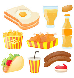 set of food and drinks vector image