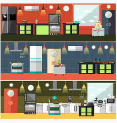Set of restaurant kitchen interior posters vector