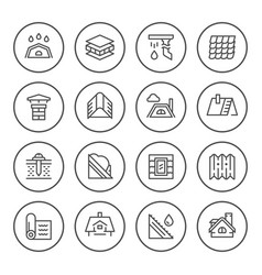 Set round line icons of roof vector