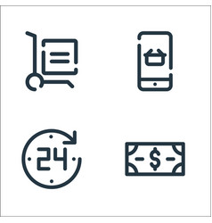 Shopping line icons linear set quality line set vector