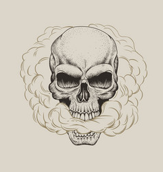 Skull breathes the smoke vector