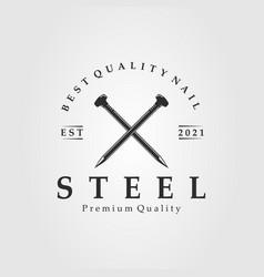Steel nail logo concrete nail logo template design vector