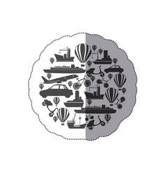 Sticker monochrome circular pattern formed by vector