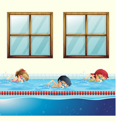 Three kids swimming in the pool vector