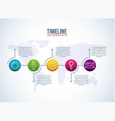 timeline infographic world business download email vector image
