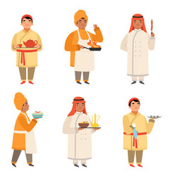 traditional cook characters chef at different vector image
