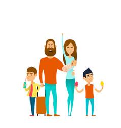 Traveling happy family vector