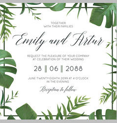 Tropical wedding floral invitation invite card vector