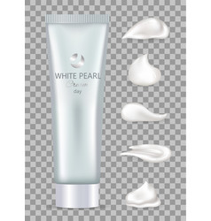 tube of white pearl cream for skin with minerals vector image