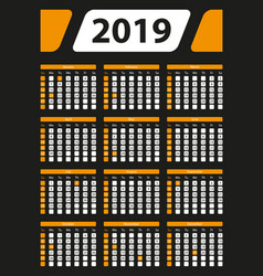 Usa calendar 2019 with official holidays 5x7 in vector