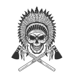 vintage monochrome indian chief skull vector image
