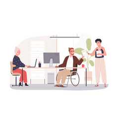 wheelchair user working in office concept of vector image