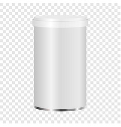 white plastic jar mockup realistic style vector image