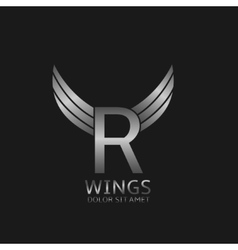Wings r letter logo vector