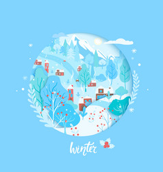 winter cardpapercut countryside wintertime scene vector image