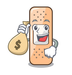 with money bag sticking plaster on the cartoon vector image