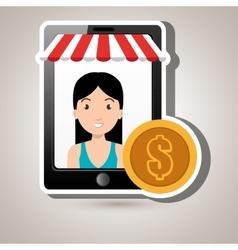 Woman online market money vector