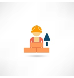 worker with trowel icon vector image