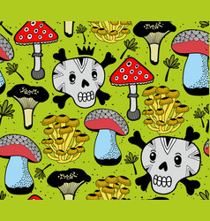 seamless pattern with funny skulls and vector image vector image