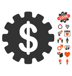 development cost icon with love bonus vector image