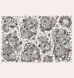 doodle cartoon set of tea and coffe vector image vector image