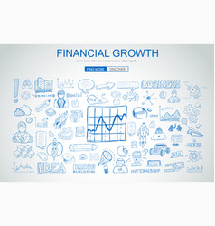 financial growth concept with business doodle vector image vector image